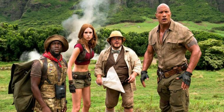 Kevin Hart, Karen Gillan, Jack Black, and Dwayne Johnson in Jumanji: Welcome to the Jungle