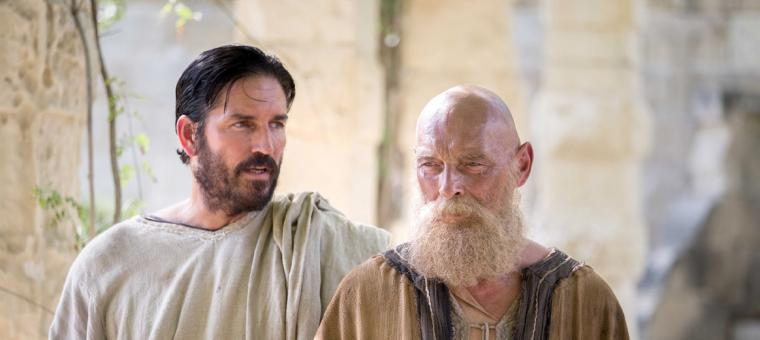 Jim Caviezel and James Faulkner in Paul, Apostle of Christ