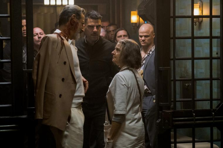Jeff Goldblum, Zachary Quinto, and Jodie Foster in Hotel Artemis
