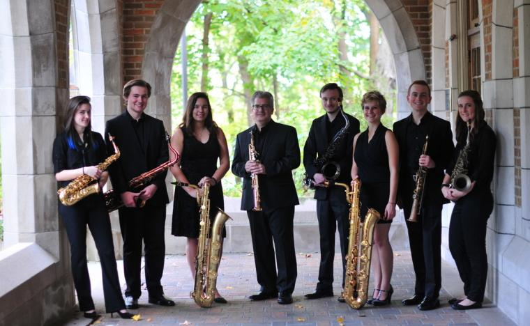 Augustana Saxophone Studio: Lexie Aguilar, Spencer Mason, Megan Gabler, Dr. Randall Hall, Kendall Hengst, Melissa Hagerty, Evan Sammons, and Kate Pisarczyk