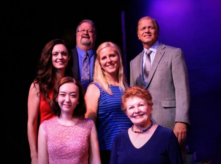 Mark Swessinger, Kevin Pieper (top), Christine Haas, Amanda Bolt (center), Laila Haley, and Pami Triebel (bottom) in A Grand Night for Singing