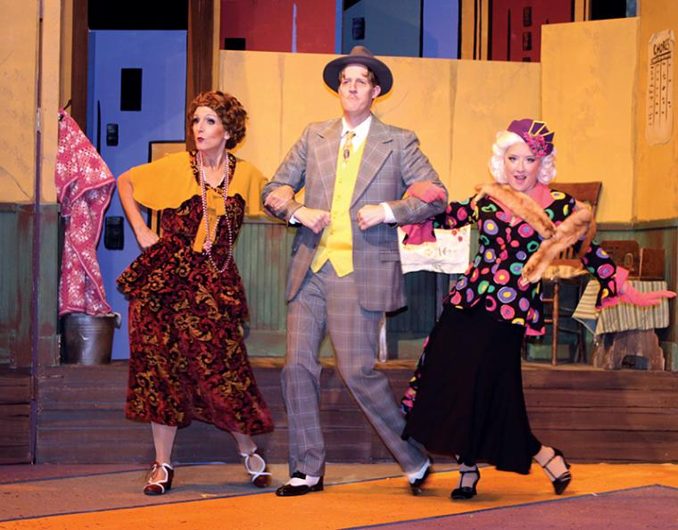 Deb Kennedy, Travis Smith, and Brooke Myers in Annie