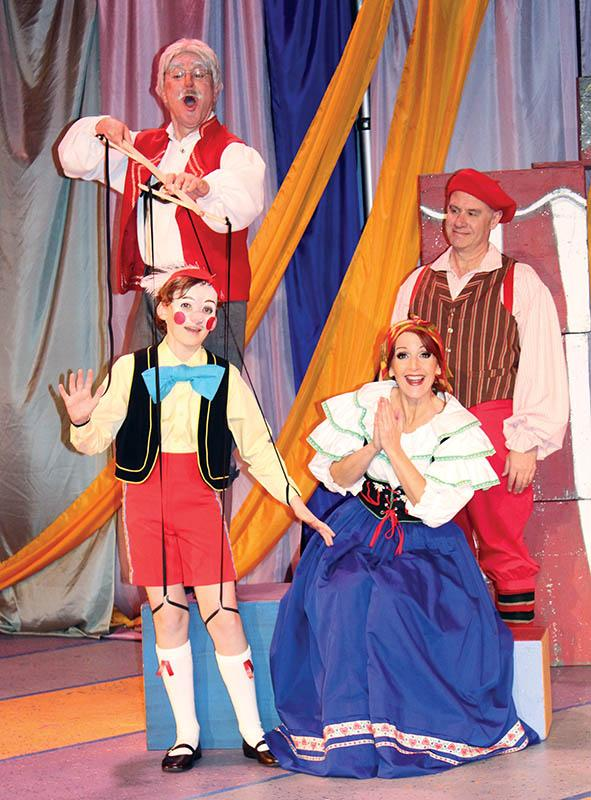 Tom Walljasper, Brennan Hampton, Deb Kennedy, and Brad Hauskins in Pinocchio