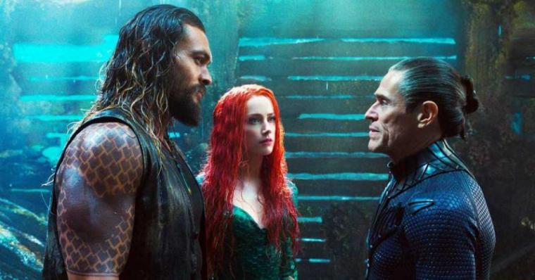 Jason Momoa, Amber Heard, and Willem Dafoe in Aquaman