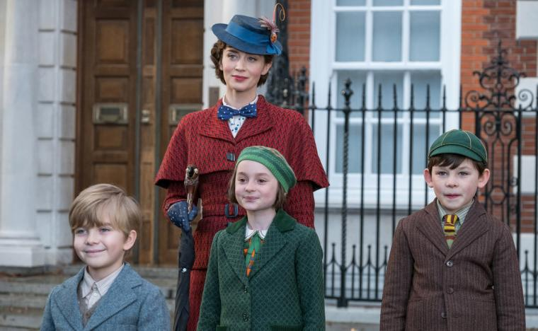 Joel Dawson, Emily Blunt, Pixie Davies, and Nathaneal Saleh in Mary Poppins Returns