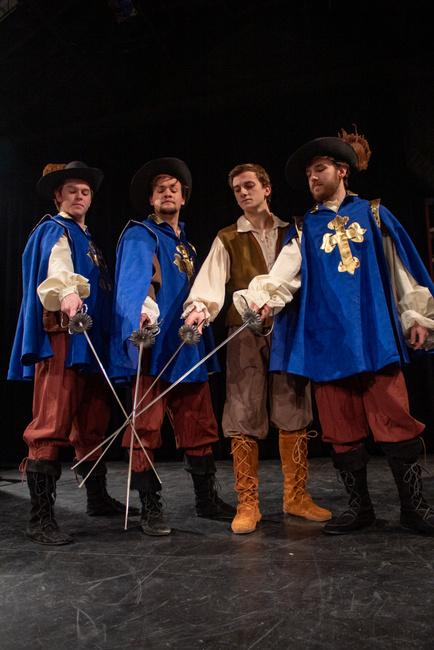 James Wheeler, Tristan Odenkirk, Peter Alfano, and Jarod Kovach in The Three Musketeers