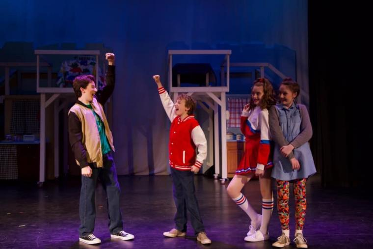 Croix Baker, Brennan Hampton, Bella Kuta, and Molly Ahern in Big: The Musical