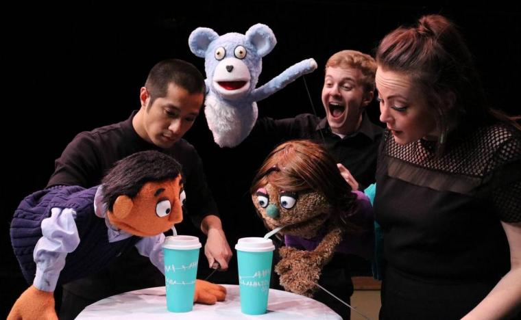 Calvin Vo, Joe Lasher, and Madison Duling in Avenue Q (photo by Jesse Mohr)