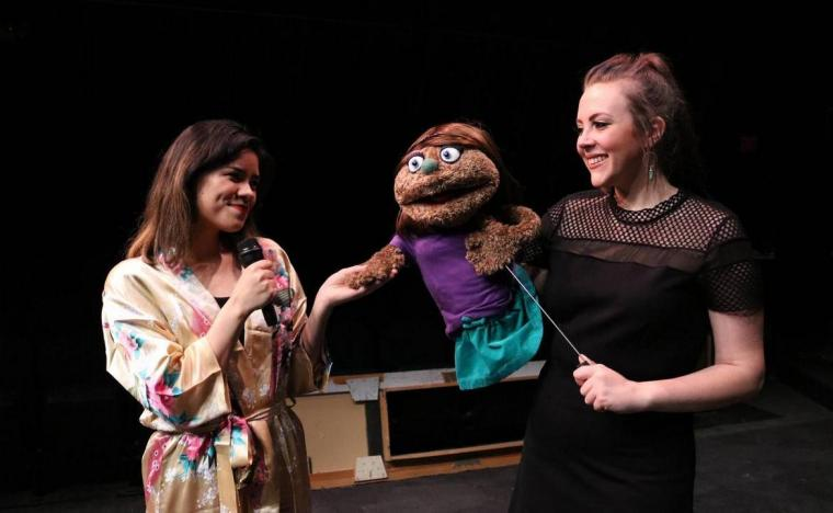 Ivy Jensen and Madison Dulingin Avenue Q (photo by Jesse Mohr)