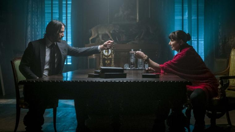 Keanu Reeves and Anjelica Huston in John Wick: Chapter 3 -- Parabellum