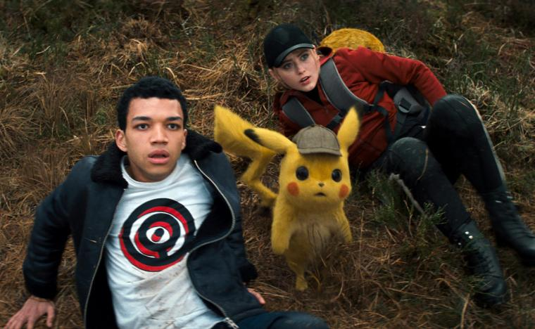 Justice Smith, Ryan Reynolds (kind of), and Kathryn Newton in Pokemon Detective Pikachu