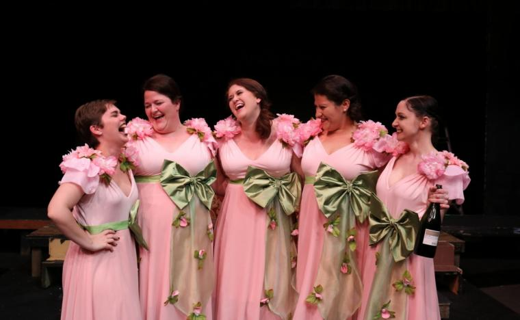 Mattie Gelaude, Emmalee Hilburn, Elle Winchester, Jazmin Mendez-Barradas, and Stephanie Moeller in Five Women Wearing the Same Dress (photo by Jesse Mohr)