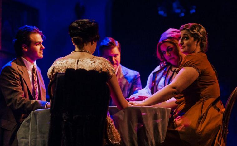 Ben Cherington, Kathryn Aarons, David Coolidge, Ben Marshall, and Lara Tenckhoff in Blithe Spirit