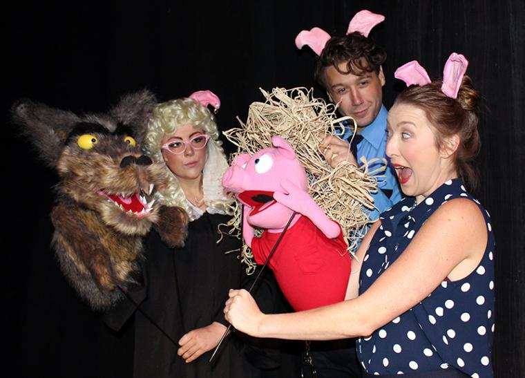 Madison Duling, Joe Arnotti, and Brooke Myers in The True Story of the Three Little Pigs