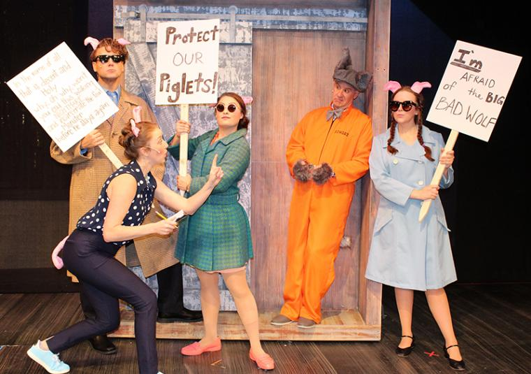 Joe Arnotti, Brooke Myers, Alyssa Flowers, Brad Hauskins, and Madison Duling in The True Story of the Three Little Pigs