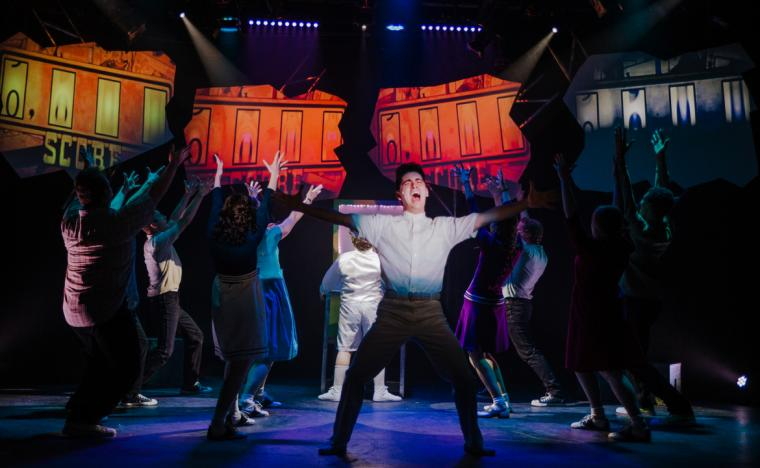 Wesley Mathews and ensemble members in The Who's Tommy