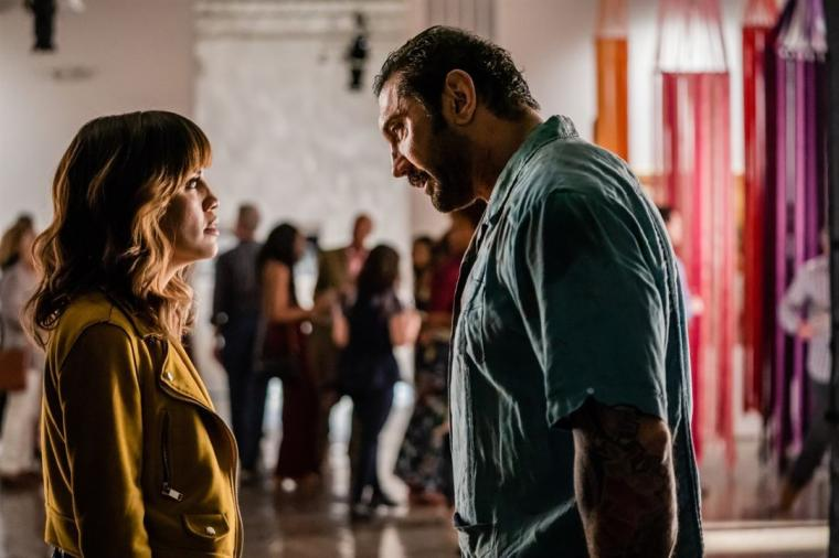 Natalie Morales and Dave Bautista in Stuber