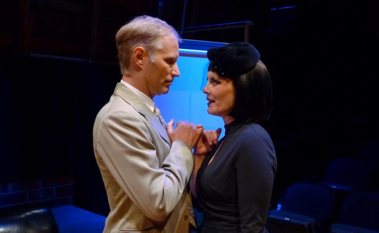Jonathan Grafft and Jessica White in The 39 Steps