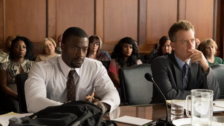 Aldis Hodge and Greg Kinnear in Brian Banks