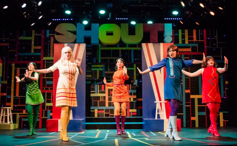 Allison Winkel, Kathryn Aarons, Lauren Medina, Eden Mau, and Sydney Howard in Shout! The Mod Musical