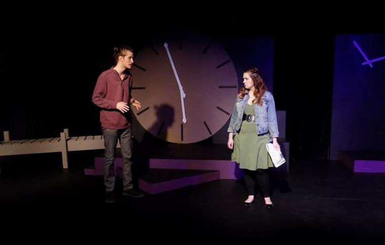 Zach Hendershott and Kathryn Jecklin in the Black Box Theatre's The Last Five Years