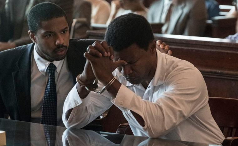 Michael B. Jordan and Jamie Foxx in Just Mercy