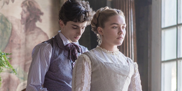 Timothee Chalamet and Florence Pugh in Little Women