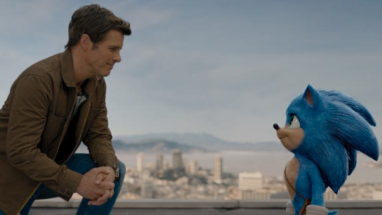 James Marsden and Sonic in Sonic the Hedgehog