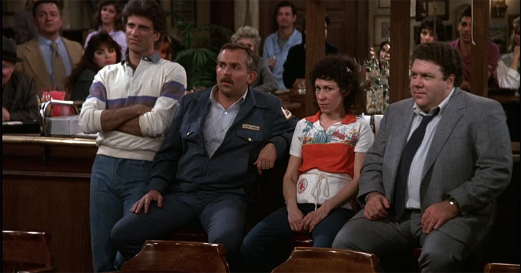 Ted Danson, John Ratzenberger, Rhea Perlman, and George Wendt in Cheers