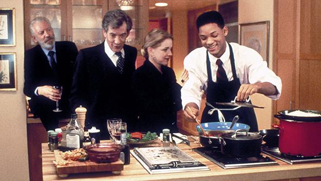 Donald Sutherland, Ian McKellen, Stockard Channing, and Will Smith in Six Degrees of Separation