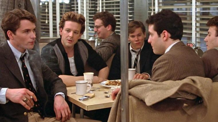 Tim Daly, Mickey Rourke, Daniel Stern, Kevin Bacon, Steve Guttenberg, and Paul Reiser in Diner