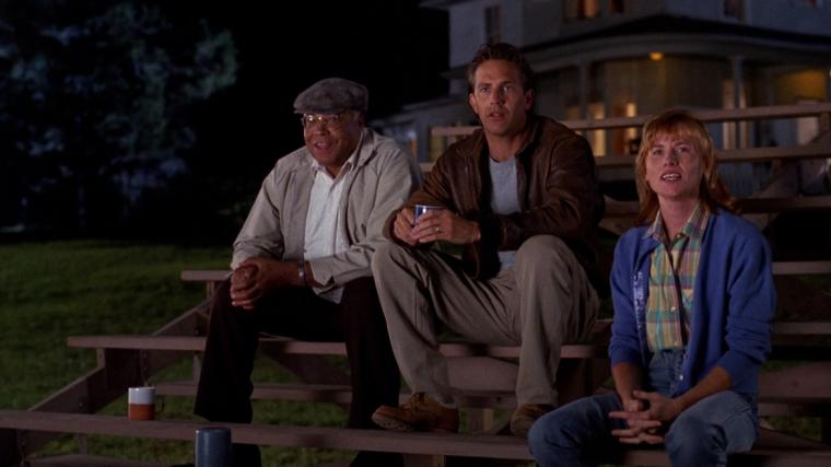 James Earl Jones, Kevin Costner, and Amy Madigan in Field of Dreams