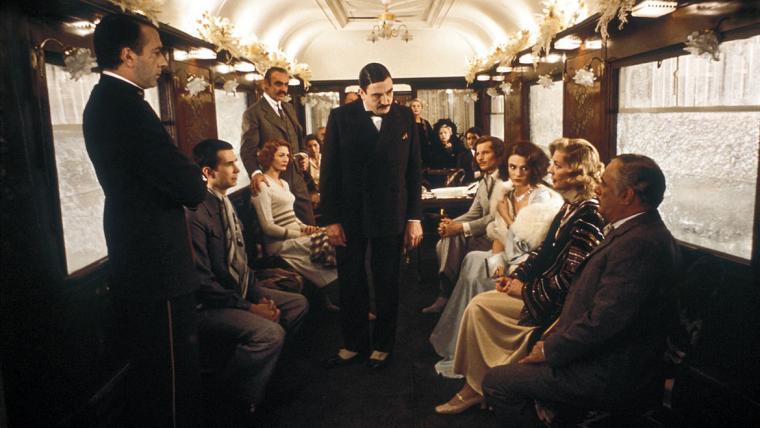 Albert Finney and the cast of Murder on the Orient Express