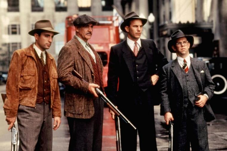 Andy Garcia, Sean Connery, Kevin Costner, and Charles Martin Smith in The Untouchables