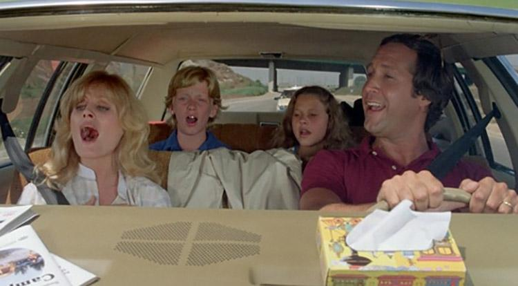Beverly D'Angelo, Anthony Michael Hall, Dana Barron, and Chevy Chase in National Lampoon's Vacation