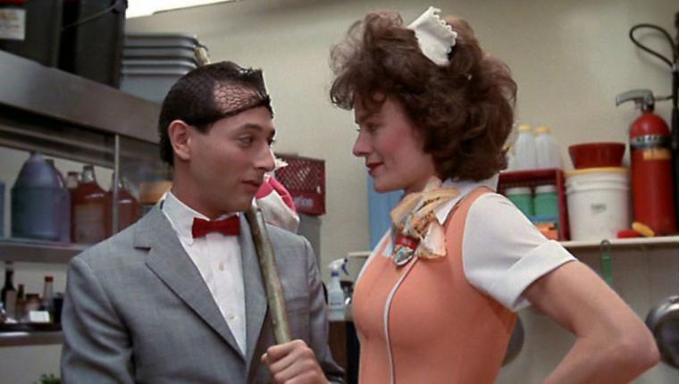 Paul Reubens (a.k.a. Pee-wee Herman) and Diane Salinger in Pee-wee's Big Adventure