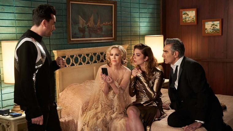 Daniel Levy, Catherine O'Hara, Annie Murphy, and Eugene Levy in Schitt's Creek