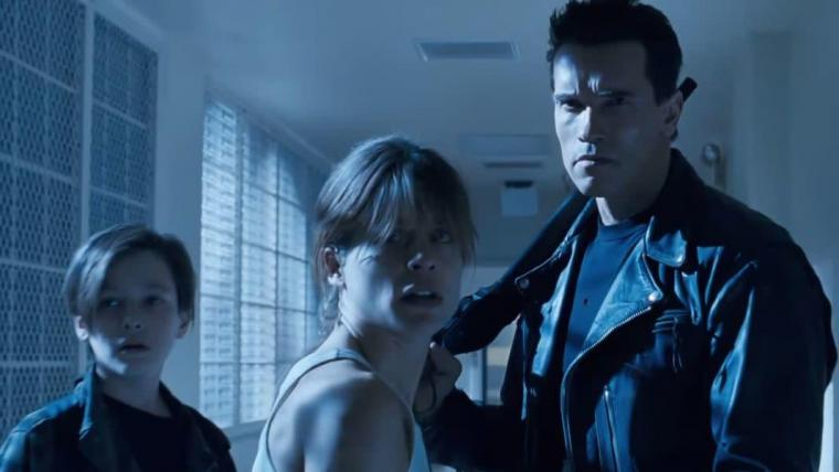 Edward Furlong, Linda Hamilton, and Arnold Schwarzenegger in Terminator 2: Judgment Day