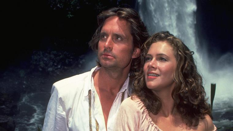 Michael Douglas and Kathleen Turner in Romancing the Stone