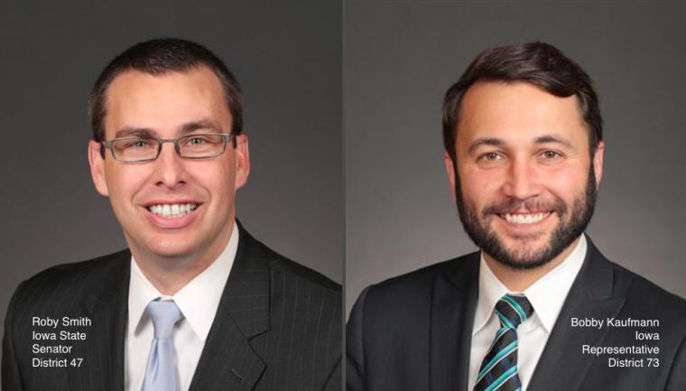 Roby Smith Iowa State Senator District 47 and Bobby Kaufmann Iowa Representative District 73