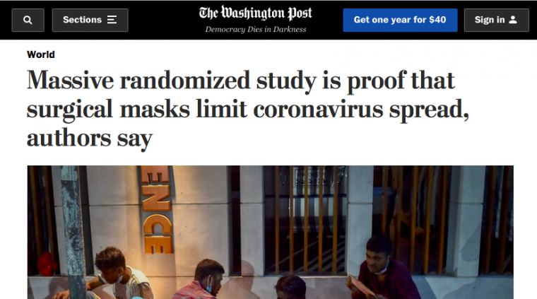 Massive randomized study is proof that surgical masks limit coronavirus spread, authors say