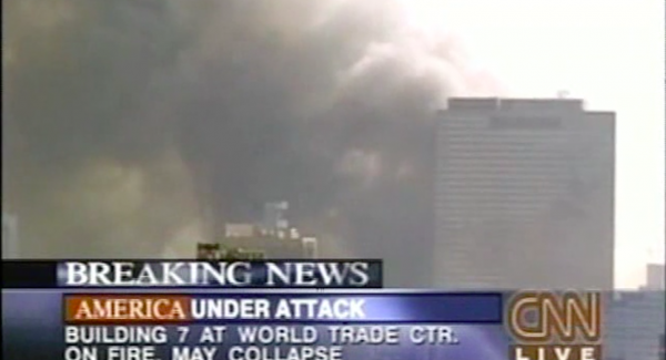 Still from Loose Change: CNN Breaking News World Trade Center Building 7 May Collapse