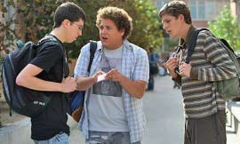 Christopher Mintz-Plasse, Jonah Hill, and Michael Cera in Superbad