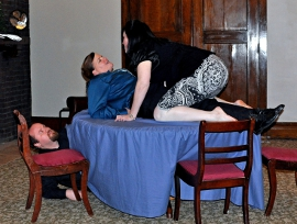 Jeb Makula, Denise Yoder, and Kitty Israel in Tartuffe