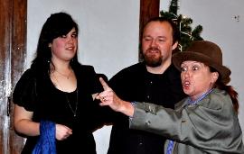 Kitty Israel, Jeb Makula, and Angela Rathman in Tartuffe
