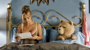 Jessica Barth and Seth MacFarlane-ish in Ted 2