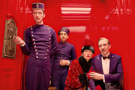 Paul Schlase, Tony Revolori, Tilda Swinton, and Ralph Fiennes in The Grand Budapest Hotel
