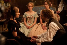 Kristin Scott Thomas, Felicity Jones, and Ralph Fiennes in The Invisible Woman