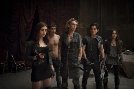 Lily Collins, Robert Sheehan, Jamie Campbell Bower, Aidan Turner, and Jemima West in The Mortal Instruments: City of Bones