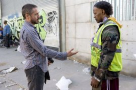 Robert Downey Jr. and Jamie Foxx in The Soloist